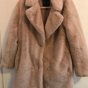 Pink, faux fur coat